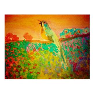 Pájaro de la canción en acuarela postal
