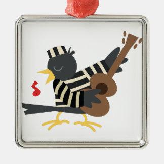 Pájaro de la cárcel adorno navideño cuadrado de metal