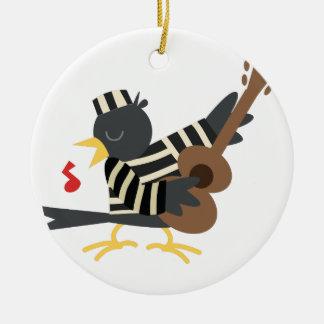 Pájaro de la cárcel adorno navideño redondo de cerámica
