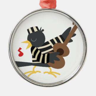 Pájaro de la cárcel adorno navideño redondo de metal
