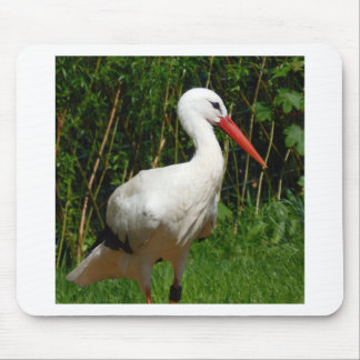 Pájaro de la cigüeña blanca tapetes de ratón