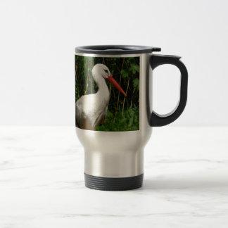 Pájaro de la cigüeña blanca taza