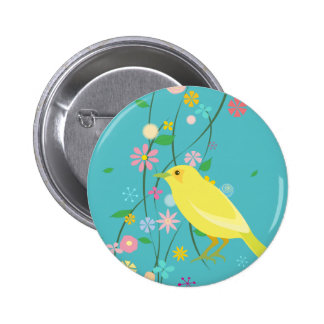 pájaro de la flor (azul) pin redondo 5 cm