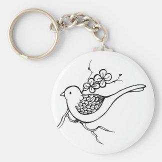 Pájaro de la flor llavero redondo tipo pin