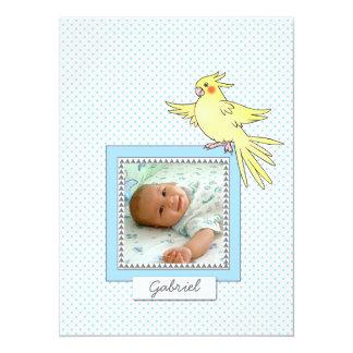 Pájaro de la foto del bebé - invitación azul del