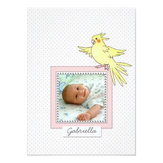Pájaro de la foto del bebé - invitación rosada del