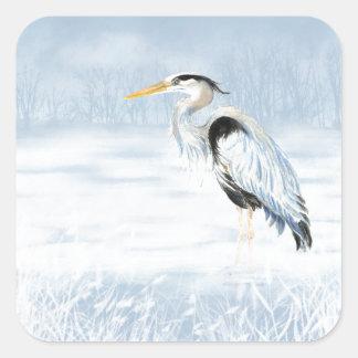 Pájaro de la garza de gran azul de la acuarela pegatina cuadrada