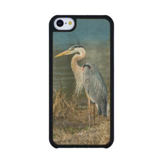 Pájaro de la garza de gran azul en la charca funda de iPhone 5C slim arce