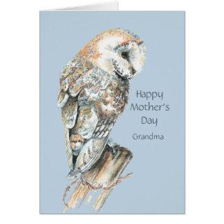 Pájaro de la lechuza común del humor de la abuela  felicitacion