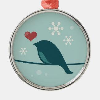 Pájaro de la nieve ornamento para arbol de navidad