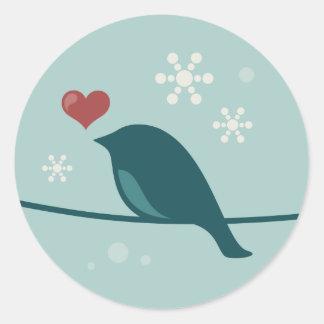 Pájaro de la nieve pegatina redonda