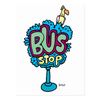 Pájaro de la parada de autobús tarjetas postales
