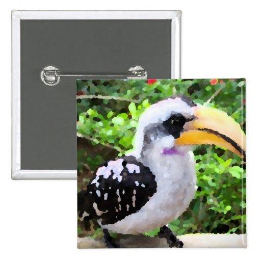 pájaro de la pintura del hornbill de lado pin cuadrada 5 cm
