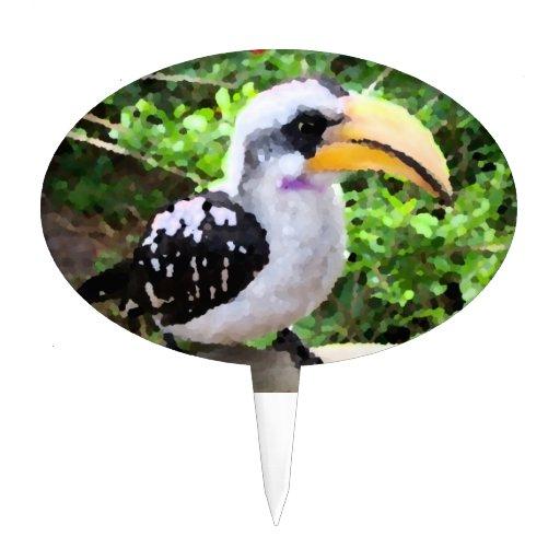 pájaro de la pintura del hornbill de lado palillos de tarta