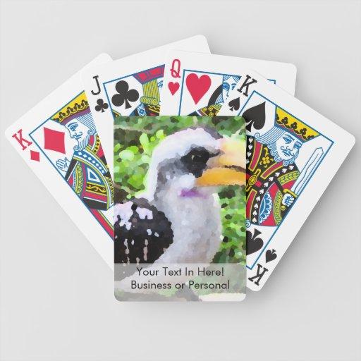 pájaro de la pintura del hornbill de lado cartas de juego