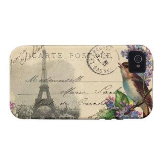 Pájaro de la postal de París en el caso de las iPhone 4 Carcasa