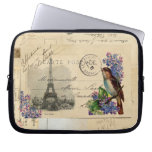 Pájaro de la postal de París en la manga del orden Funda Portátil