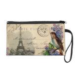Pájaro de la postal de París en mitón de las lilas