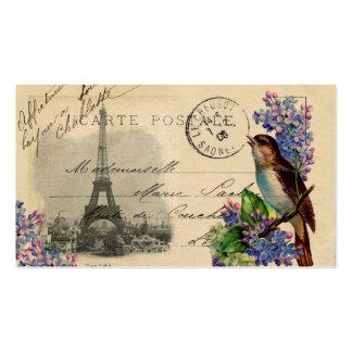 Pájaro de la postal de París en tarjeta de visita