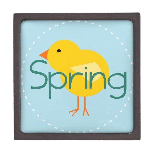 Pájaro de la primavera del dibujo animado cajas de recuerdo de calidad