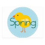 Pájaro de la primavera del dibujo animado tarjeta postal