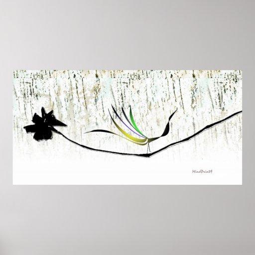 Pájaro de la selva en las maderas blancas impresiones