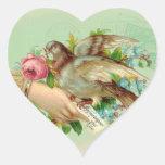 Pájaro de la tarjeta del día de San Valentín del Pegatina En Forma De Corazón