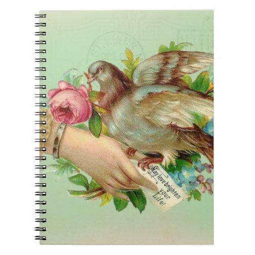 Pájaro de la tarjeta del día de San Valentín del V Libreta