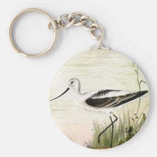 Pájaro de la vida marina del vintage, Avocet, aves Llavero Redondo Tipo Chapa