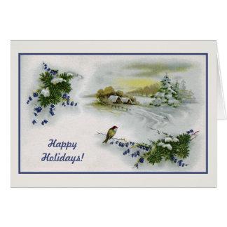 Pájaro de las casas del navidad del vintage tarjeta de felicitación