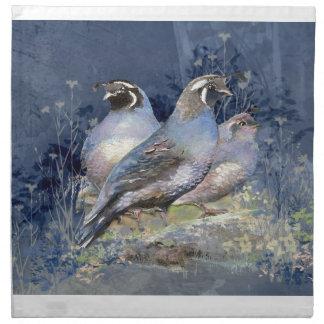 Pájaro de las codornices de California de la acuar Servilleta Imprimida
