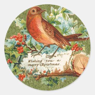Pájaro de las Felices Navidad del vintage en Pegatina Redonda