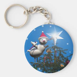 Pájaro de las Felices Navidad Llavero Redondo Tipo Pin