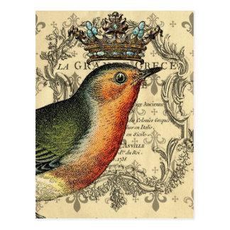 Pájaro de Le Fleur Crowned Tarjetas Postales