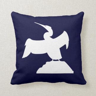 PÁJARO DE MAR. BLANCO en la almohada azul Cojín Decorativo