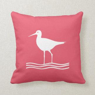 Pájaro de mar rosado náutico bilateral almohadas