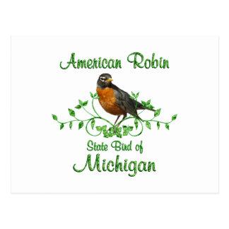 Pájaro de Michigan del petirrojo Tarjetas Postales