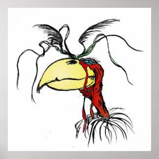 Pájaro de mirada loco del buitre de Harpie con el  Póster