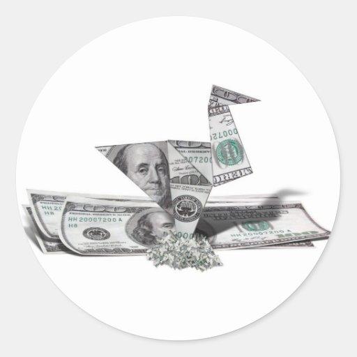 Pájaro de Origami a partir del billete de dólar el Pegatina Redonda