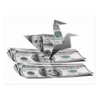 Pájaro de Origami a partir del billete de dólar el Tarjetas Postales