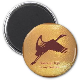 Pájaro de oro - el alto altísimo es mi naturaleza imán redondo 5 cm