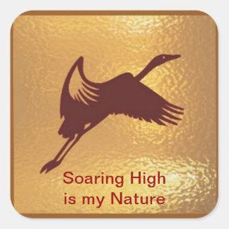 Pájaro de oro - el alto altísimo es mi naturaleza pegatina cuadrada