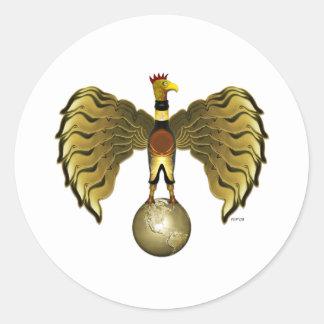 Pájaro de oro pegatina redonda