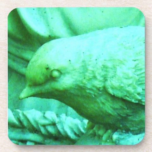 Pájaro de piedra de la aguamarina del vintage posavasos