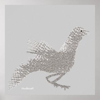Pájaro de ramitas impresiones