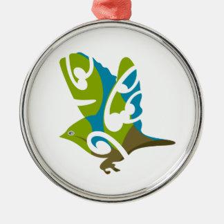 Pájaro de Silvereye Adorno Redondo Plateado