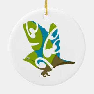 Pájaro de Silvereye Adorno Redondo De Cerámica