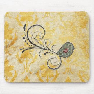 Pájaro de Swirly en modelo amarillo del Grunge de Alfombrillas De Ratones