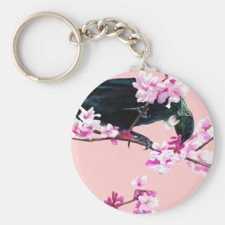 Pájaro de Tui en las flores de cerezo Llavero Redondo Tipo Pin