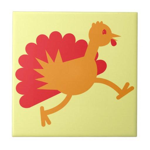 ¡Pájaro de Turquía en el funcionamiento! Azulejo Cuadrado Pequeño